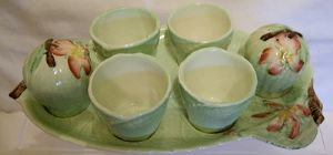 Carlton Ware - Apple Blossom Egg Frame with 4 Egg Cups and Cruet Set - SOLD